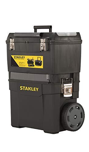 Stanley Rollende Werkstatt (47,3 x 30,2 x 62,7 cm, zwei separat verwendbare Werkzeugboxen, robuster Kunststoff, zwei Einheiten, Metallschließen, Organizer) 1-93-968