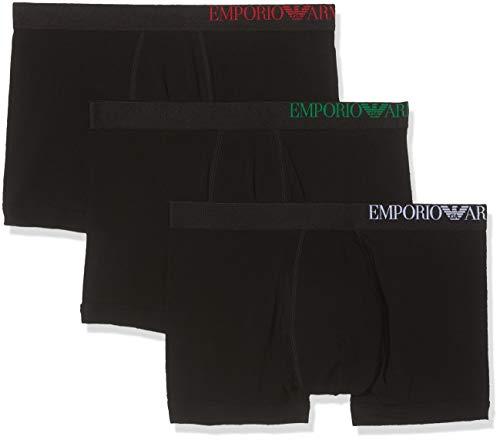 Emporio Armani Underwear Herren 3 Pack Boxer Multipack B Side Logo Boxershorts, Schwarz (Nero/Nero/Nero 21320), Medium (Herstellergröße:M) (3er Pack)