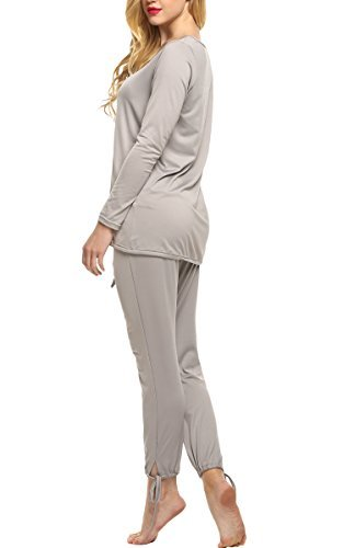 Ekouaer Damen Schlafauzug Anzug zweiteiliger langgarm Volltonrabe lässig pyjama Grau M
