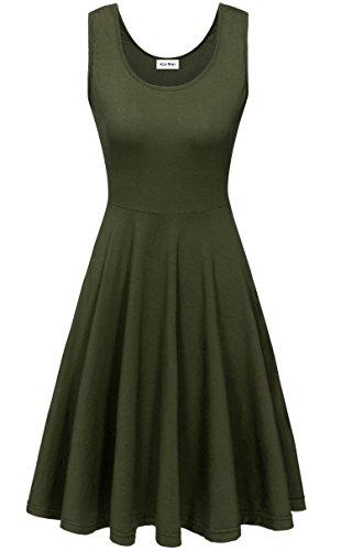 KorMei Damen Ärmelloses Beiläufiges Strandkleid Sommerkleid Tank Kleid Ausgestelltes Trägerkleid Knielang Grün XL