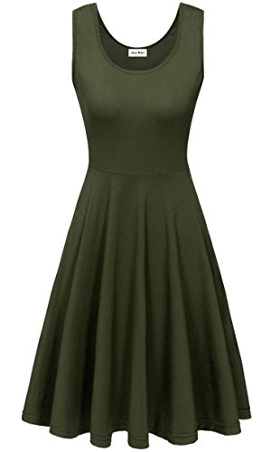KorMei Damen Ärmelloses Beiläufiges Strandkleid Sommerkleid Tank Kleid Ausgestelltes Trägerkleid Knielang Grün XL (Kleid Grün Tank)