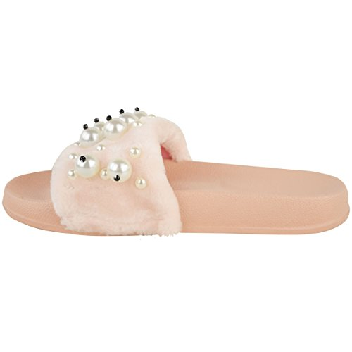 Womens Ladies Piatto Antiscivolo Su Pelliccia Finta Passanti Perla Sandali Estivi Pantofole Numero finta pelliccia chiara / perla finta / gemma finta