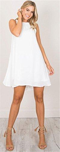 Moda Senza Maniche laccetti sul retro Deep V sul retro Canotte Tank Vest Mini Corte Corta Svasato a trapezio Maternità Dress Vestito Abito Bianco