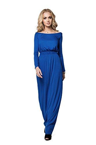 Futuro Mode elegant Imperium Maxi Kleid komplett Länge U-Boot-Ausschnitt langärmlig Cocktail Style offen Halsausschnitt Size 8-18 UK fm08 Königsblau
