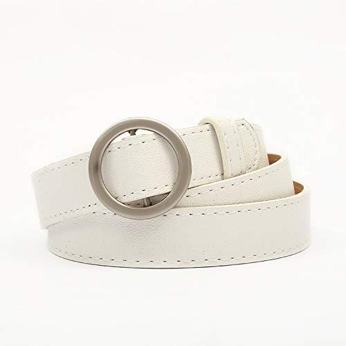ZGQP Cinturón de hebilla redondo no poroso de alta gama nuevo pantalón de estudiante salvaje simple con cinturón decorativo negro, aumentar el temperamento (Color : White, Size : 100cm)