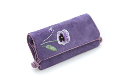 Seek-Unique-Estuche-enrollable-para-joyas-diseo-con-flor-color-lila