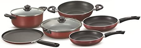 Prestige Omega Deluxe Glass Induction Base Non-Stick Kitchen Set, 6-Pieces, Red