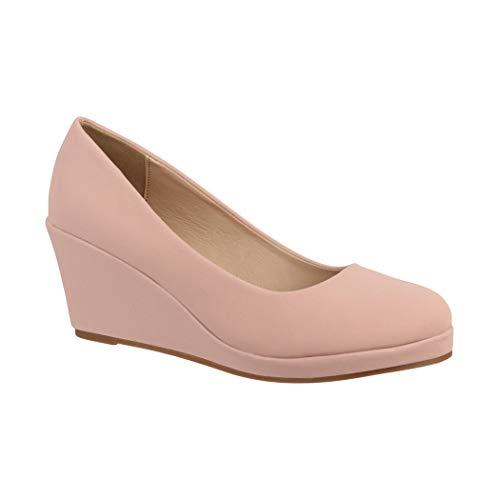 Elara Damen Pumps Keilabsatz Wedges Schuhe mit Plateau  Chunkyrayan B8011-PM-Nude-38