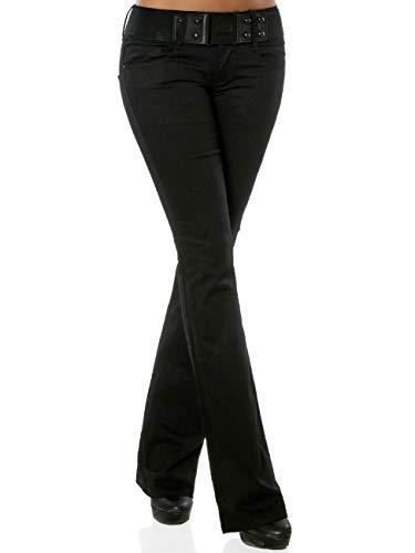 Damen Boot-Cut Jeanshose mit Gürtel DA 15998 Farbe Schwarz Größe S / 36 Dark Denim Boot-cut Jeans