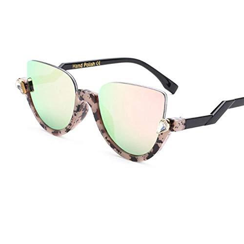 Yuanz Mode Cat Eye Mirror Womens Sonnenbrillen Vintage Crystal Sun Brillen weiblichen Farbverlauf Brillen Frames Uv400,D