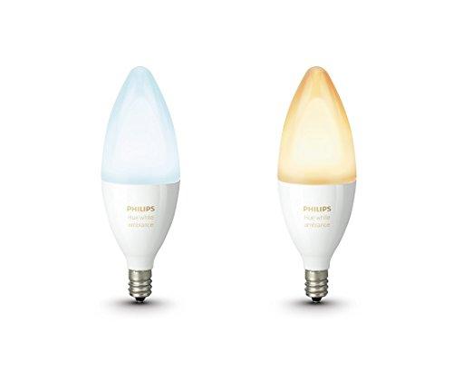 Philips Hue Pack de 2 ampoules connectées White Ambiance flamme E14 - Fonctionne avec Alexa