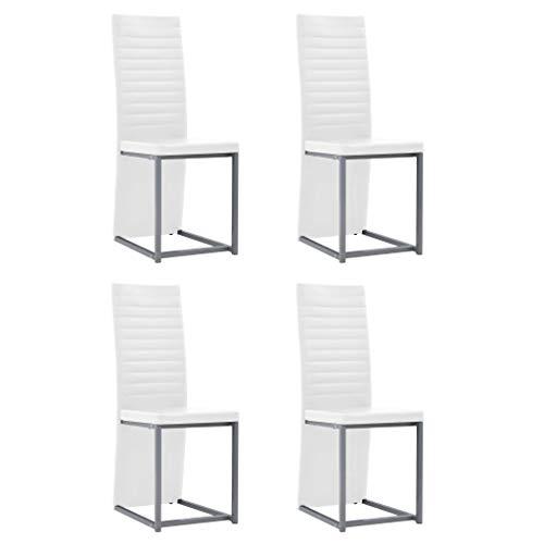 Festnight- 4er Set Esszimmerstühle Küchenstühle Schöne Kunstleder Form Bequeme Stühle für Esszimmer 38,5 x 52 x 100,5 cm Weiß