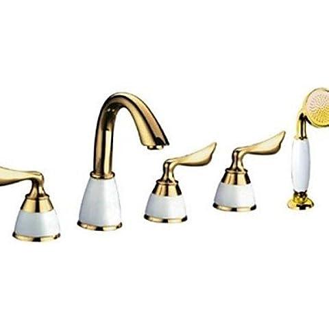 Stile contemporaneo, finitura in Ti-PVD finitura in ottone con tre manici per doccia con soffione e doccetta