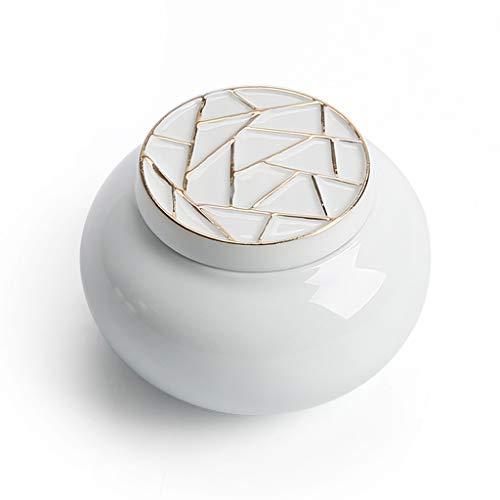 Kleine Keramik Urne Andenken Keramik Elegant Für Mensch Oder Tier Asche-Hält Bis Zu 20 Kubikzentimeter Asche,Glosswhite(A) -