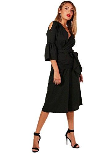 Noir Femmes gia jupe-culotte et chemisier cache-cœur tissé à volants Noir