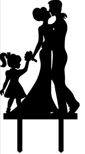 Braut-silhouette (Mentor Interactive Cake Topper Statuette FÜR Cake Wedding Silhouette BRÄUTE MIT MÄDCHEN MIT Schwanz H 15 X 10,5 cm)