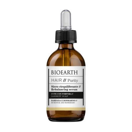BIOEARTH - Suero equilibrante para el cabello con bardana y romero - Contra la caspa - Alivia la picazón - Producto orgánico, probado en níquel, vegano - 50 ml