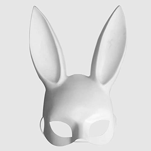 DaoRier Weihnachten Bar Club Halloween Masquerade Bunny Ear Maske, PVC, White a, 38 * 18cm