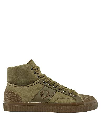 Fred Perry Men's Hughes Mid Waxed Canvas Olive Sneakers Green in Size 43 -
