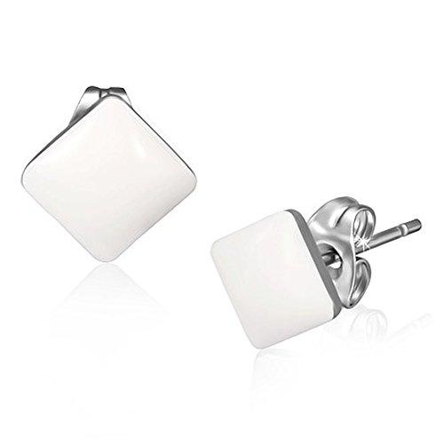 2 Paar Weiße Ohrstecker Rund und Eckig Ohrringe Edelstahl poliert 7mm für Damen und Herren