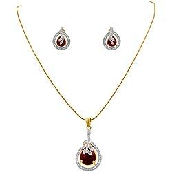 JFL - Jewellery for Less Fusion Ethnic One Gram Gold Plated Cz American Diamond Stone Designer Pendant Set for Women & Girls (Red)