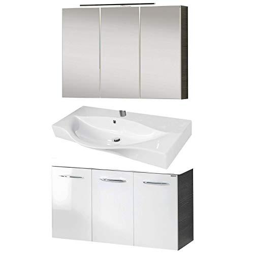 Fackelmann Badmöbel Set Vadea 3-tlg. 90 cm anthrazit weiß mit Waschtischunterschrank, Gussbecken und LED Spiegelschrank anthrazit