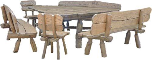 Ess-sets Bänke (Rustikale Gartengarnitur aus Massivholz | Gartenmöbel aus Erlen-, Eichen- und Akazienholz | Sitzplätze: ca. 11 Personen | Tisch, 3 Bänke, 2 Stühle)