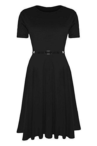 Damen Skater Kleid EInfarbig mit Gürtel Angeschnittene Ärmel Mittellang