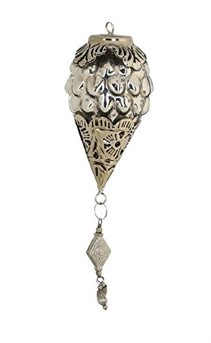 PTMD Christbaumschmuck 'Zapfen' aus Glas mit Metallbeschlag silber 15 cm