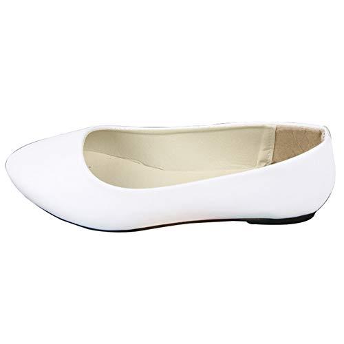 GODGETS Ballerinas Damen Flats Lackleder Geschlossene Klassisch Flache Schuhe Rutsch,Weiß 2,34 EU