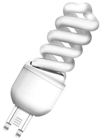 Osram 510853 Duluxstar Nano Twist 9 W/825, entspricht 45 Watt, 220-240 V Sockel G9 Energiesparlampen in Spiralform klein 30 mm, warmweiß