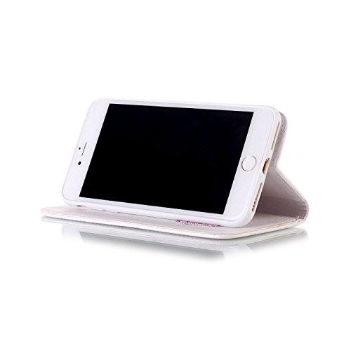 TOCASO Case per Apple iPhone 6 / 6S Custodia in PU Copertura di Ccuoio Cover, Sintetica Ecopelle Pelle Guscio per iPhone 6 / 6S Disegno Diamante Campanula Dipinto Protezione Caso Ultra Sottile shell p Bianco e Rosa