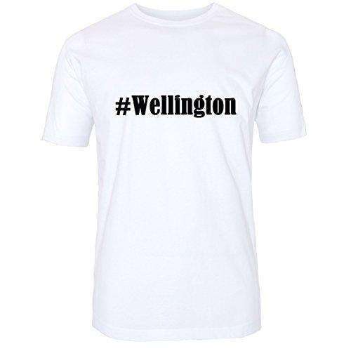 T-Shirt #Wellington Hashtag Raute für Damen Herren und Kinder ... in den Farben Schwarz und Weiss Weiß