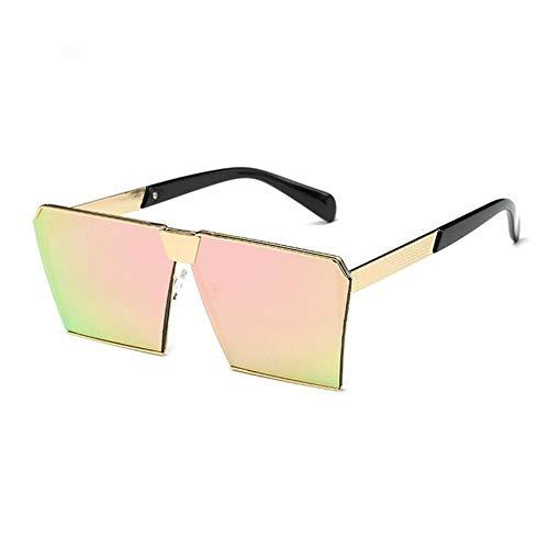 YDS SHOP Quadratische Unisex-Sonnenbrille im westlichen Stil, Perfekter klassischer UV- / Oversize-Spiegel for alle Outdoor-Aktivitäten (Color : Gold/pink)