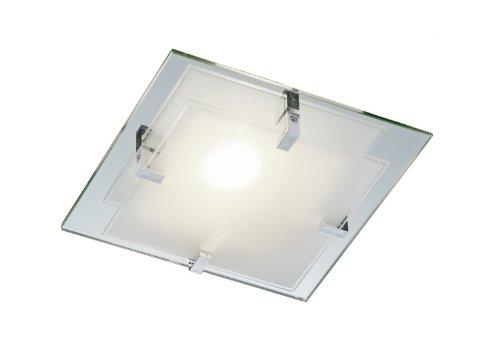 Trio-Leuchten Deckenleuchte mit Spiegelglas, Glas weiß satiniert, Halter aus Kunststoff exklusiv 1x E14 max. 40W, Maße: 26 x 26 cm 601100100 (Masse Kunststoff-kronen In Der)