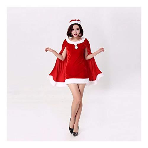 SDLRYF Babbo Natale Vestito Santa Claus Costume Natale con Cappuccio da Indossare Femmina Adulta Albero di Natale Costume (1Pc)