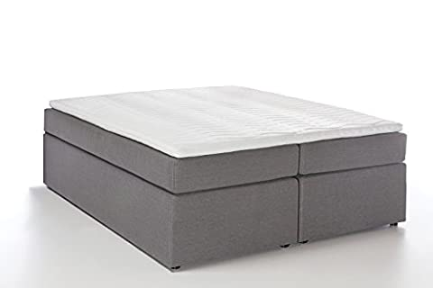 Möbelfreude® Boxspringbett Bella Hellgrau 160x200cm H2/H3 inkl. Visco-Topper, 7-Zonen Taschenfederkern-Matratze,