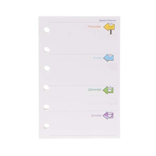 /A7Monat/Woche/Tag farbigen 6-holes nachfüllbar liniertes Papier Tagebuch Refills gefüttert, für Reisen, nachfüllbar Papier Zeitschriften Notebooks Planer Diary (W, A7) ()