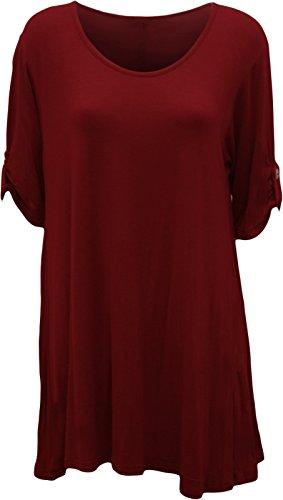 PaperMoon - Damen Übergröße Rundhalsausschnitt Kurzarm Ausgestelltem Lange Top - Wein - 44 / (Plus Size Outfits)