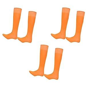 VORCOOL Lange Socken Anti-Slip Athletic Soccer Socken einfarbig Mannschaftssocken 3 Paar – freie Größe (orange)