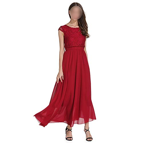 Frauenkleid Party Dress Frauen mit Rundhalsausschnitt und Flügelärmeln Chiffon-Kleid (Farbe : Red, Size : 2XL) - Chiffon Red Heels