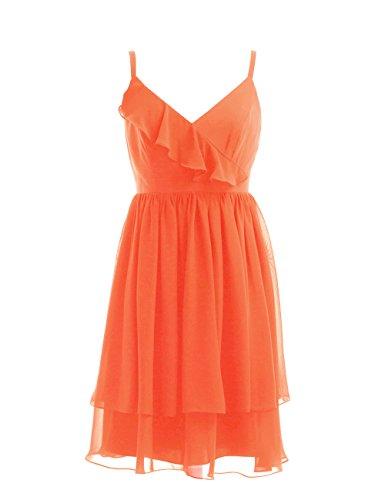 Dresstells, bretelles spaghetti robe courte de demoiselle d'honneur/cocktail, robe courte d'été en mousseline Orange