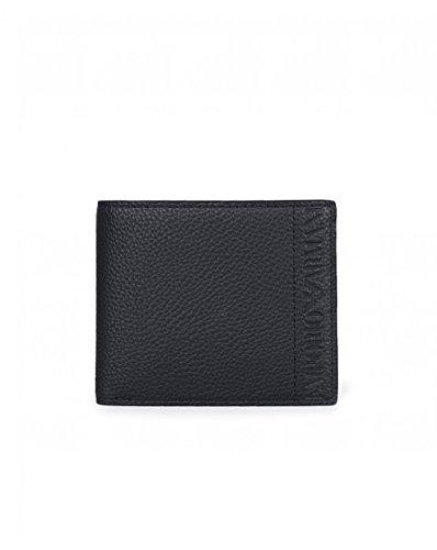 Armani jeans script bilfold wallet one size black