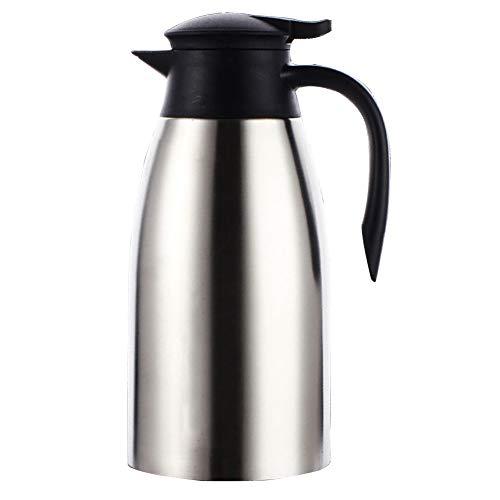 e tisch wei  matt QAQ Kessel 304 Edelstahl Doppelschicht Vakuum Isolation Kaffeemaschine Große Kapazität,Silver,2L