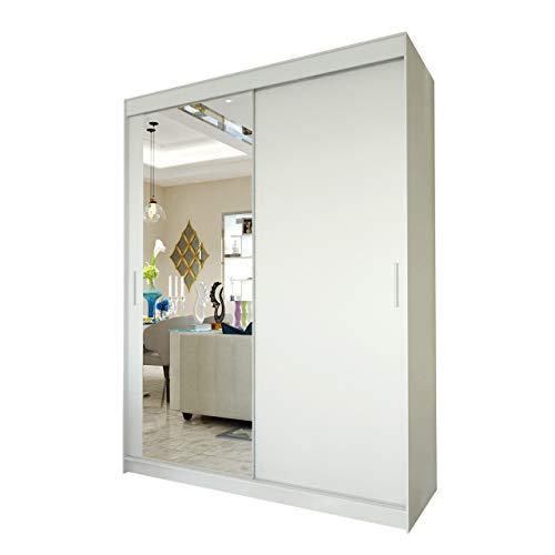 Mirjan24  Kleiderschrank Persi II, Schwebetürenschrank mit Spiegel, Elegante Schlafzimmerschrank, Schlafzimmer, Jugendzimmer, Diele und Flur, Schiebetür (Weiß, 150 cm)