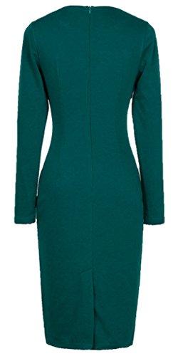 HOMEYEE Damen Karree-Ausschnitt vorne Buttons Cocktailkleid Business Kleid B10 T¨¹rkis