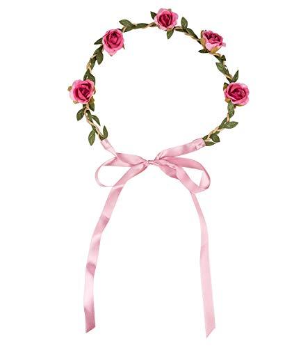 SIX Damen Haarschmuck, Haarband, Blumenschmuck, Blätter, Rosen, Schleife, grün, braun, rosa (456-601)