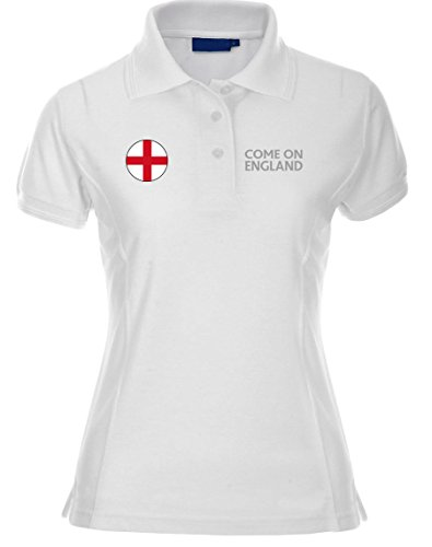 swagwear Come on England, Embroidered English Premium 210g Womens Football Polo T-Shirt 6 Colours (8-10)