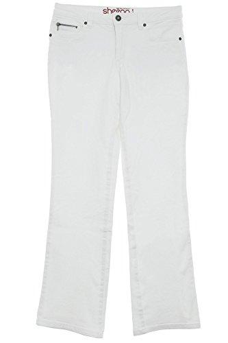 sheego Jeans Bootcut Boot Cut Damen Hose Stretch Plusgröße Kurzgröße Langgröße, Farbe:weiß;Damengrößen:22