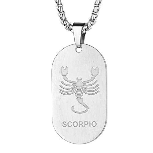 FaithHeart Dog Tag Gold 12 Sternzeichen-Serie der Skorpion- Mens Womens 12 Sternbild Sternzeichen Halskette in echt 316L Stahl Silber 925 Sterling -